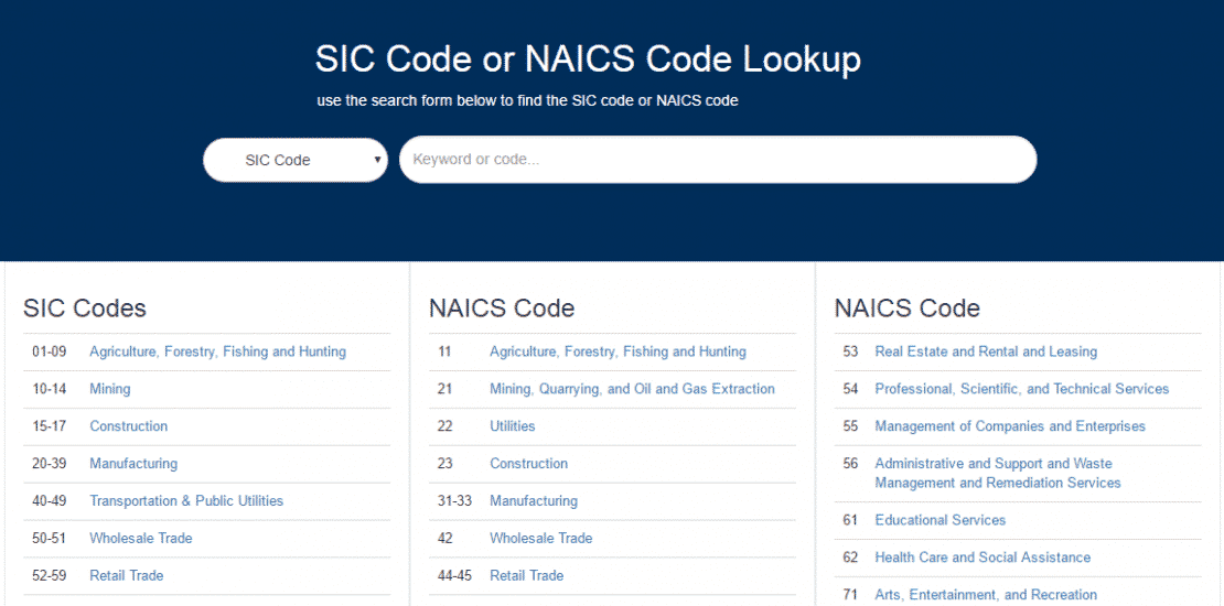 SIC Code and NAICS Code Lookup Tool